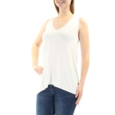 ONE A Womens White ATTACHED CAPE Sleeveless V Neck Top Size: M