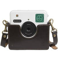 Polaroid Custom Designed Vintage-Inspired Genuine Leather Cradle for Socialmatic - Removable Neck Strap Included - Brown