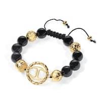 Just Cavalli Signature Shamballa Bracelet in Gold-Plated Stainless Steel - Black