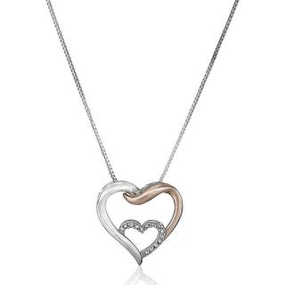 Entwined Heart Pendant With Diamonds In Sterling Silver 14K Rose Gold 18