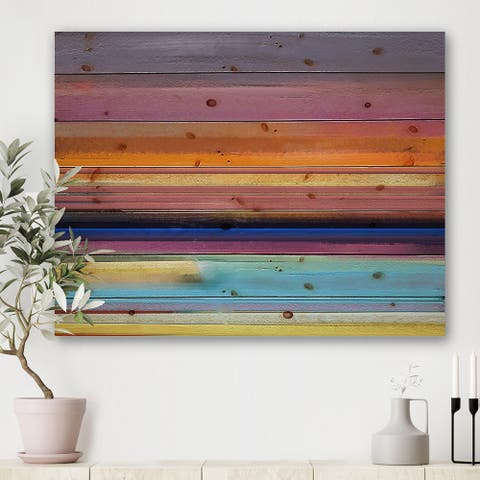 Designart 'Minimal Strokes Composition In Yellow Purple And Orange' Modern Print on Natural Pine Wood