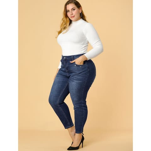 Women's Plus Size Denim Mid Rise Stretch Washed Skinny Jeans