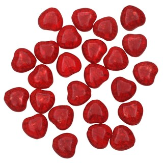 Czech Pressed Glass - Crackle Heart Beads 8.5x7.5mm 'Ruby' (25)