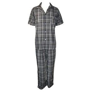 Ten West Apparel Men's Cotton Yarn Dyed Short Sleeve Long Leg Pajama Set