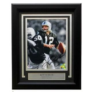 Ken Stabler Signed Framed 8x10 Oakland Raiders Spotlight Photo PSA