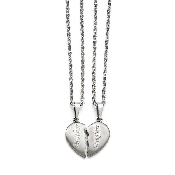 """Chisel Stainless Steel Brushed 1/2 Heart """"Mother""""/""""Daughter"""" Necklace Set"""