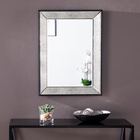 Silver Orchid Lattimore Glam Black Wall Mirror