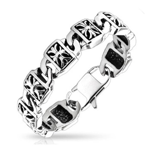 Stainless Steel Decorative Cross Engraved Plate Chain Bracelet (17 mm) - 8.5 in