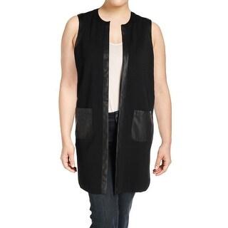 Lauren Ralph Lauren Womens Sonataya Casual Vest Faux Trim Open Front