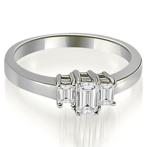 1.00 cttw. 14K White Gold Three Stone Emerald Cut Diamond Ring