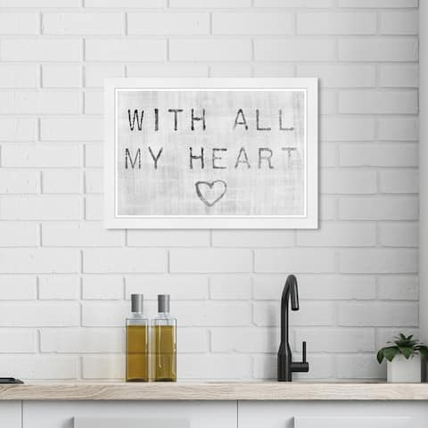 Wynwood Studio 'With all My Heart Silver' Typography and Quotes Wall Art Framed Print Love Quotes and Sayings - Gray, White