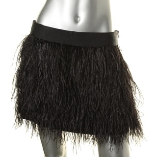 Milly Womens Ostrich Feather Lined Mini Skirt - 8