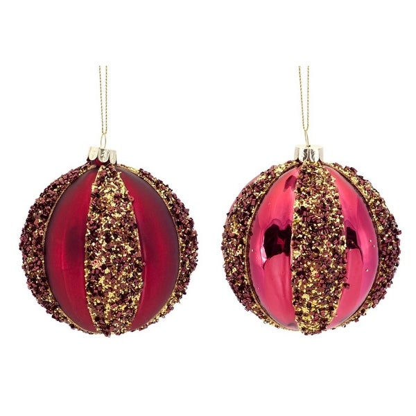 """12ct Burgundy Red with Gold Sequins Glass Christmas Ball Ornaments 4"""" (100mm)"""