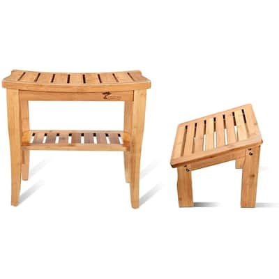 ToiletTree Products Deluxe Bamboo Shower Bench with Foot Stool