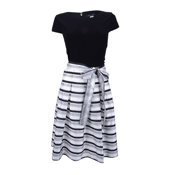 abae2906c Shop Tommy Hilfiger Women's Shadow Stripe Fit & Flare Dress - Black/Ivory - Free  Shipping Today - Overstock - 21395430