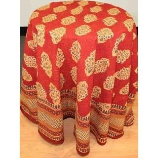 Handmade Kensington Block Print Tablecloth 100% Cotton Rust Brown Rectangular Square Round