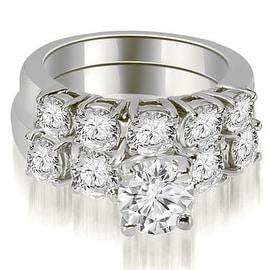 1.65 cttw. 14K White Gold Prong Set Round Cut Diamond Bridal Set