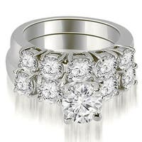 1.90 cttw. 14K White Gold Prong Set Round Cut Diamond Bridal Set