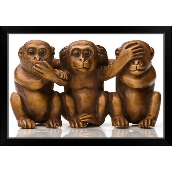 """""""Carving of three silly wooden monkeys"""" Black Framed Print"""