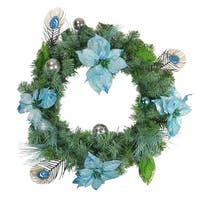 Blue and Silver Peacock Poinsettia Artificial Christmas Wreath - 24-Inch, Unlit