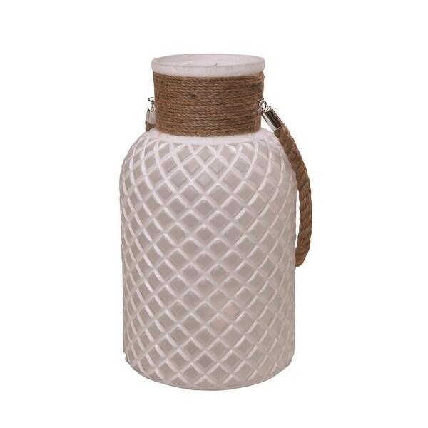 "12.25"" White Diamond Texture Decorative Glass Pillar Candle Holder Lantern with Handle"