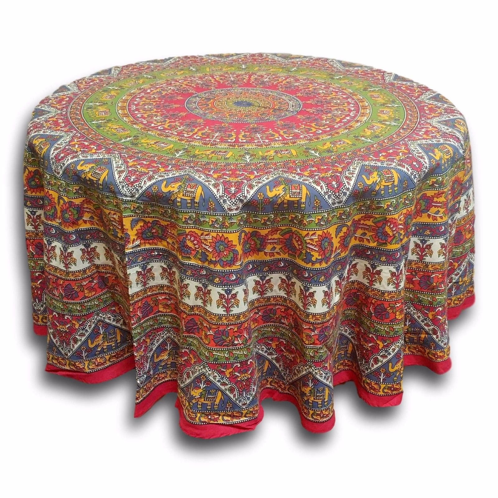 "Handmade Mandala Floral and Elephant Printed Cotton Tablecloth available in Red Blue & Brown in two sizes 76"" Round & 90"" Round - Thumbnail 1"