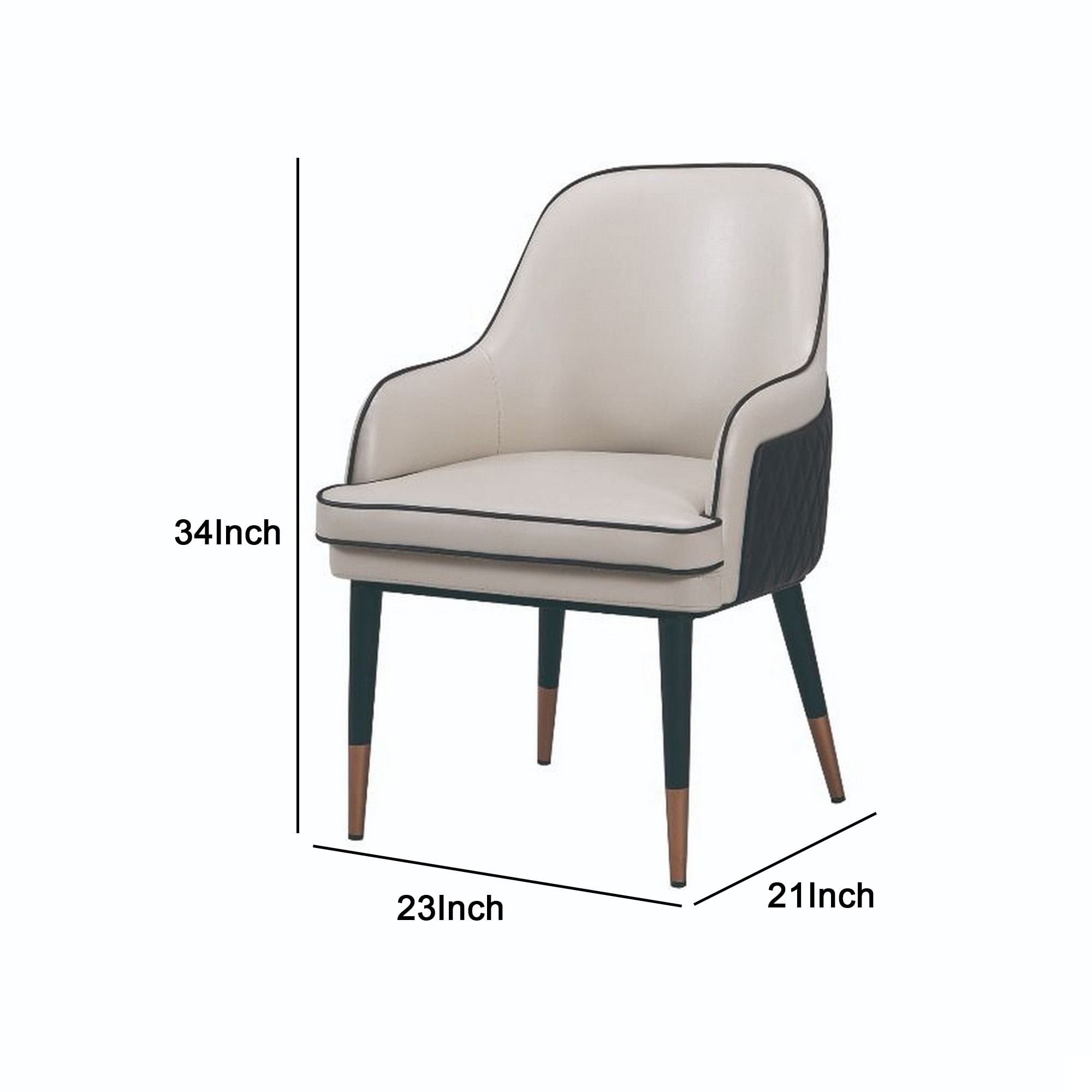 Mid Century Leatherette Armchair With Peg Legs And Metal Cap Gray And Brown On Sale Overstock 31857630