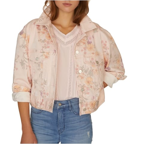 Sanctuary Womens Jacket Pink Size XS Denim Cropped Floral Printed