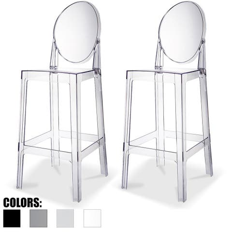 """2xhome Set of 2 Clear 30"""" Seat Height High Barstool Modern Plastic Chair Side Bar Counter Stool Accent Armless Kitchen"""