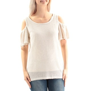 CALVIN KLEIN $79 Womens New 1052 Ivory Gold Cold Shoulder Metallic Sweater S B+B