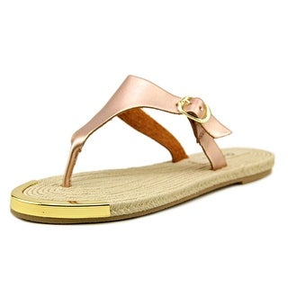 Qupid Canyon 01 Women Open Toe Synthetic Gold Thong Sandal