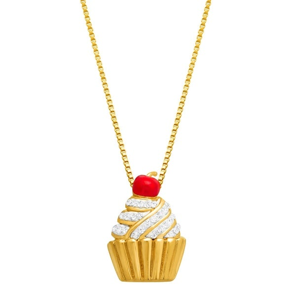 Crystal Cupcake Pendant in 18K gold-Plated Brass