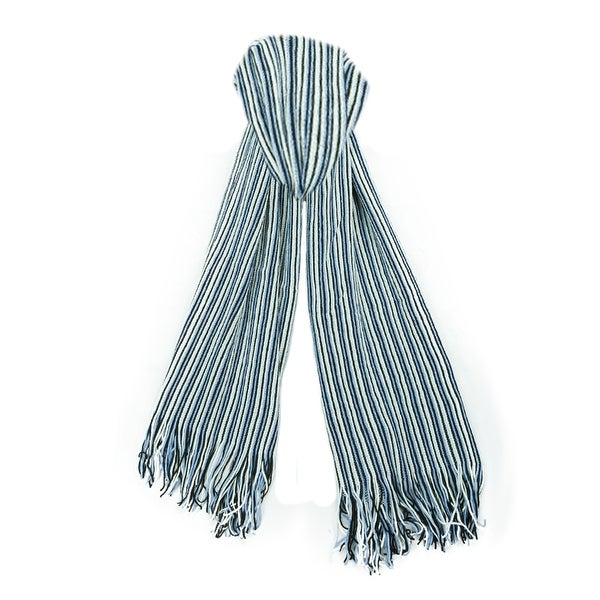 "Missoni SA57WMD4694 Blue Stripe Knit Wool Blend Ladies Scarf/Shawl - 22"" - 71"""