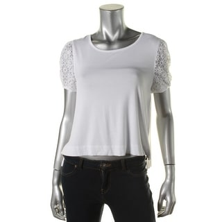 Kensie Womens Jersey Lace-Trim Casual Top