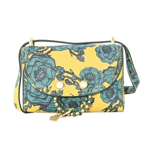 Foley & Corinna Handcrafted Flower Lemon Vegan Leather Pebbled Wallet