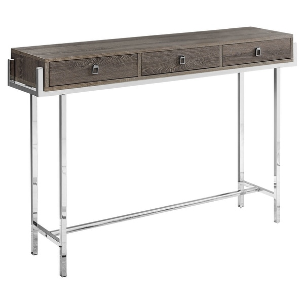 "48"" Brown and Silver Contemporary Rectangular Accent Table - N/A"