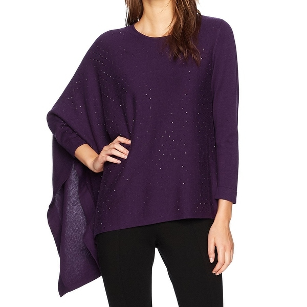 Anne Klein Purple Womens Size Large L Shimmer Knitted Sweater
