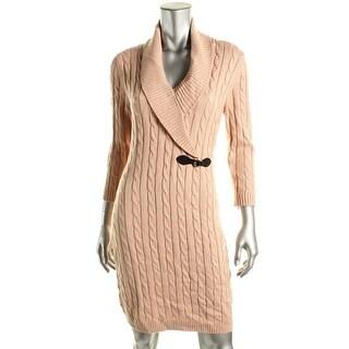 Calvin Klein Womens Cable Knit Metallic Sweaterdress - S