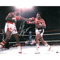 Larry Holmes signed Boxing 16x20 Photo vs Ali w Easton Assassin under the lights