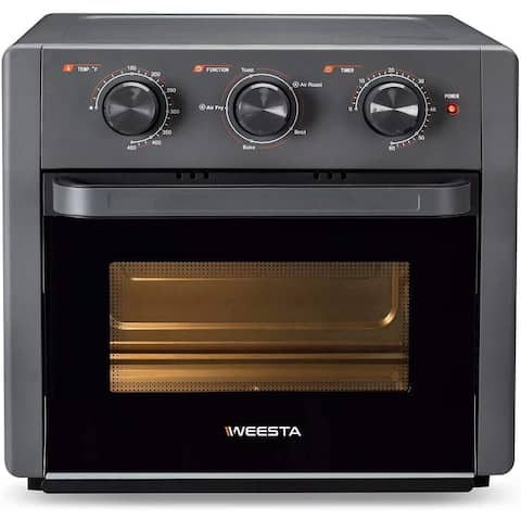 WEESTA Air Fryer Toaster Oven, 5-IN-1 Countertop Convection Oven w/ Rotisserie,Grey - 15.1 W * 14.3 D * 14.1H inches