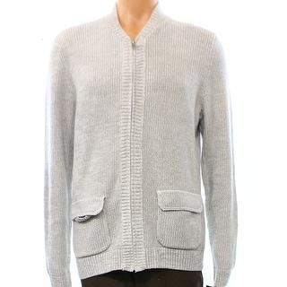 Alfani NEW Light Gray Mens Size Large L Full Zip Cotton Sweater