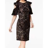 Xscape Black Womens Size 4 Ruffled Cold Shoulder Sheath Dress