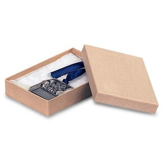 """Pack Of 100, 7 X 5 X 1"""" Natural Brown Kraft Jewelry Boxes W/Non-Tarnish Cotton Made In Usa"""