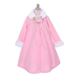 Kids Dream Pink Fleece Faux Fur Collar Cuff Stylish Coat Girls 4-12