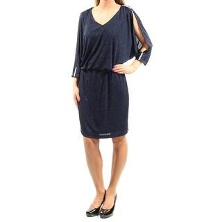 MSK $89 Womens 1119 Navy Glitter 3/4 Sleeve V Neck Blouson Dress 16 B+B