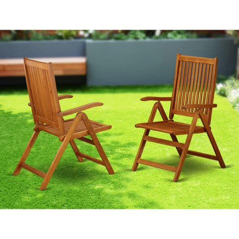 BCNC5NA 5 Position Outdoor patio foldable Side Chair Solid Acacia Wood