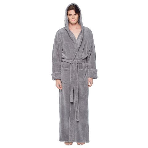 Men's Hooded Fleece Bathrobe Turkish Soft Plush Robe with Full Length Options