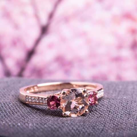 Miadora 10k Rose Gold Morganite, Tourmaline and Diamond 3-Stone Ring
