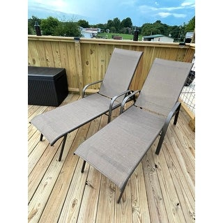 """Outdoor Patio All Weather Adjustable Chaise Lounge Chairs (Set of 2) - 74.0"""" L x 20.5"""" W x 14.2"""" H"""