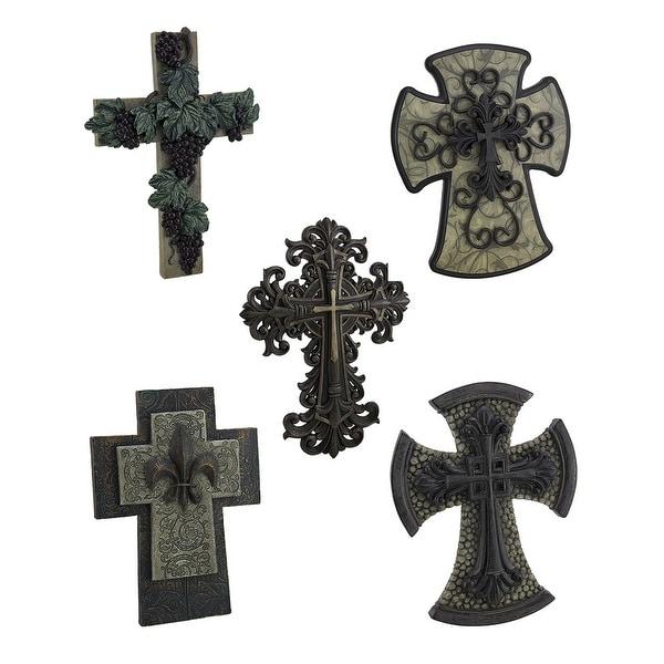 Shop Divine Decor 5 Piece Decorative Wall Cross Set - Free Shipping ...